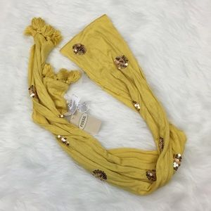 🎃FOSSIL Yellow Tassel and Sequin Scarf